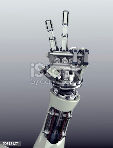 istock robot arm counting number 5 hand gesture 506131271
