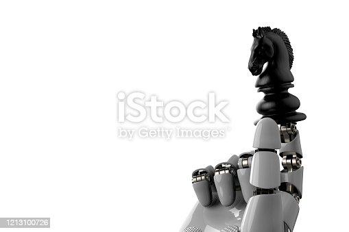 istock robot arm hand and black horse chess piece symbol stock photo 1213100726