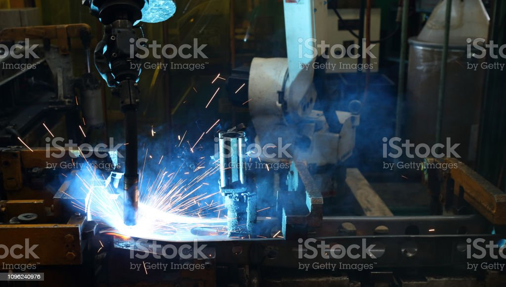 Robot arm in smart factory background. stock photo