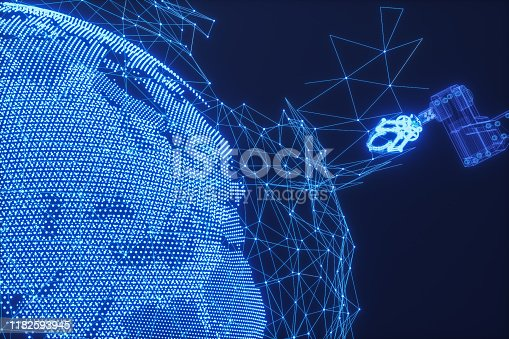 istock Robot Arm Manipulator With Earth Made Of Triangle Shape 1182593945