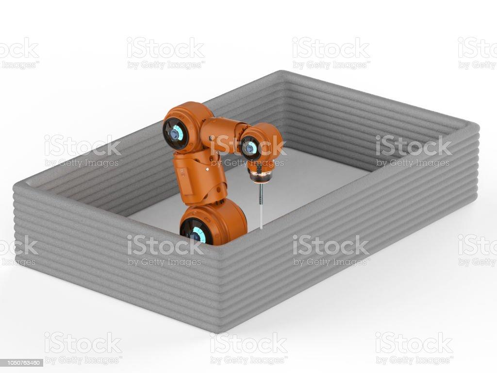 로봇 팔 인쇄 집 스톡 사진