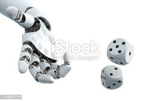 istock robot arm to dice stock photo 1213027273