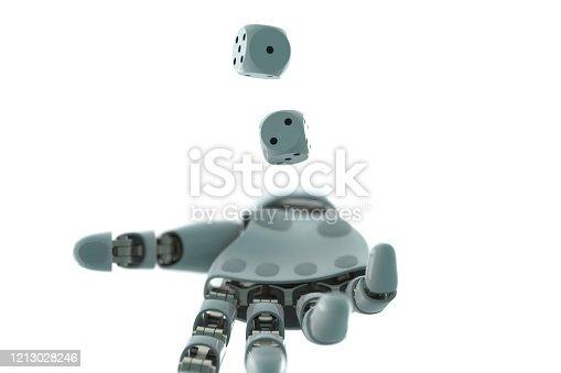 istock robot arm to dice stock photo 1213028246