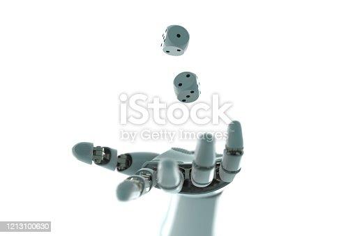 istock robot arm to dice stock photo 1213100630