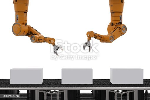istock robot arm with boxes 966249076