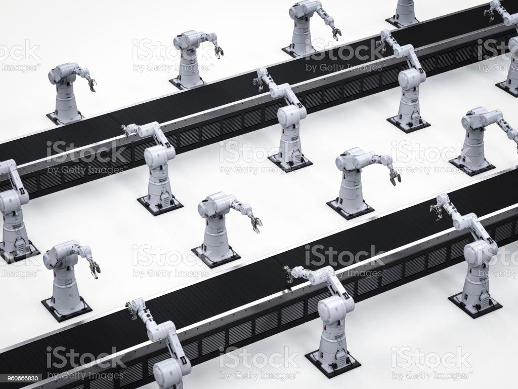 컨베이어 라인 로봇 팔 스톡 사진