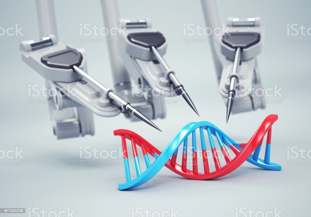 Robot arms create new DNA structure stock photo