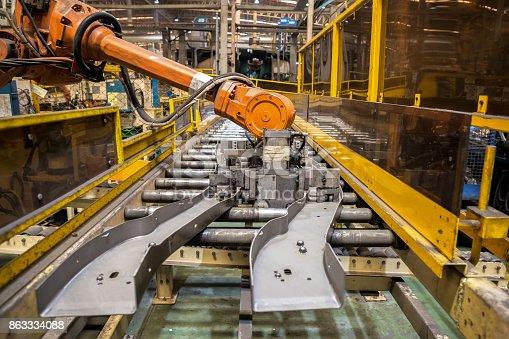 989526318 istock photo Robot arms handle tool keep automotive part to spot machine 863334088