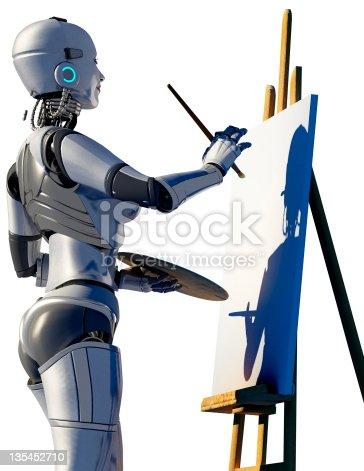 istock Robot artist. 135452710