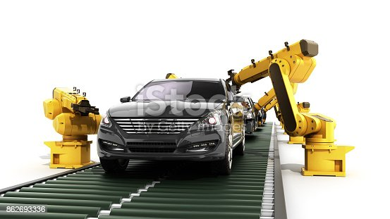 istock robot assembly line in car factory 3d render on white 862693336
