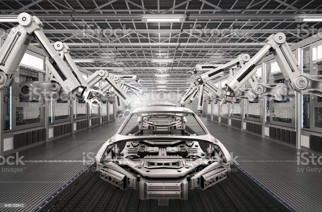 robot monteringslinje i bilfabrik bildbanksfoto