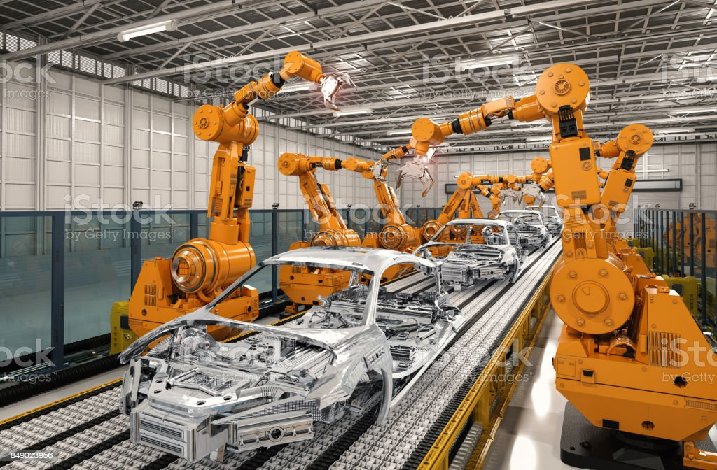 robot assembly line in car factory - Royalty-free Arm Stock Photo