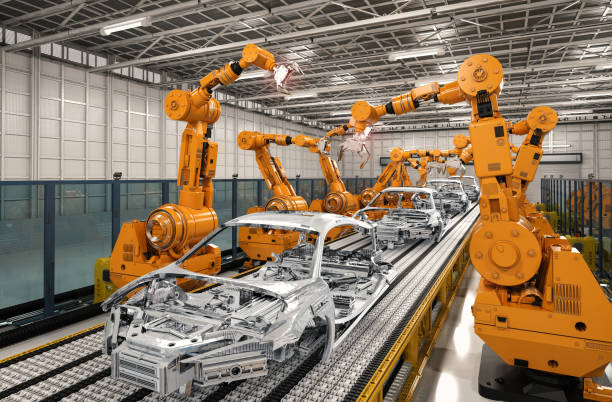 robot assembly line in car factory - conveyor belt stock pictures, royalty-free photos & images