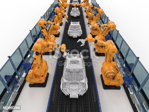 849023956 istock photo robot assembly line in car factory 853660066
