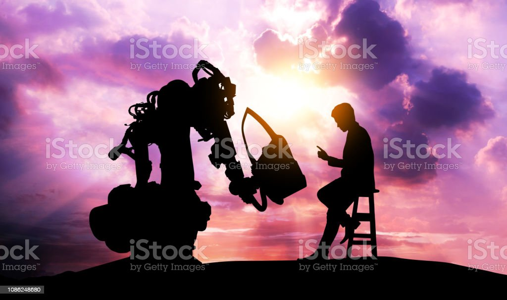 Robot assistant technology , industry 4.0 , artificial intelligence trend concept. Silhouette of business man talking to automation robo advisor arm. Bokeh flare light effect with sunrise background. stock photo