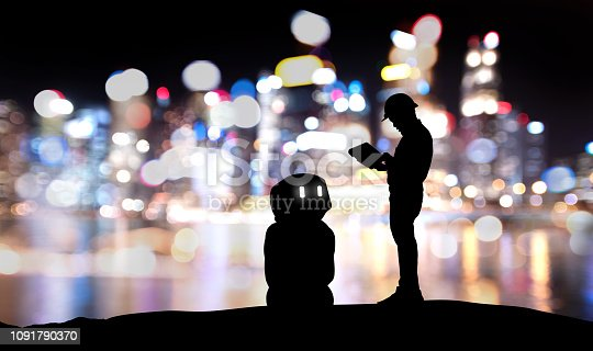 1091790372 istock photo Robot assistant technology , industry 4.0 , artificial intelligence trend concept. Silhouette of engineer man control to automation robo advisor. Bokeh flare light effect with building background. 1091790370