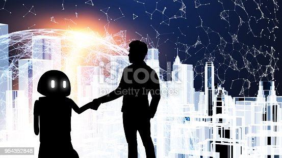 istock Robot assistant technology,industry 4.0 , artificial intelligence trend concept. Silhouette business man talking to automation robo advisor. Flare light effect with 3d rendering building background. 954352848