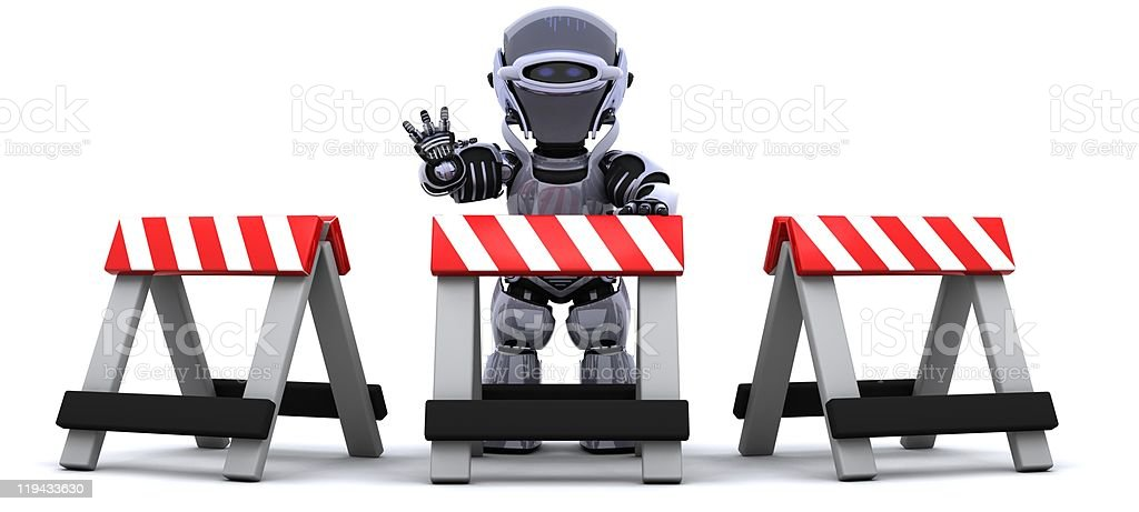 robot behind a barrier royalty-free stock photo