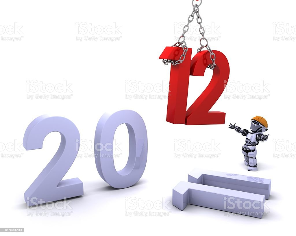 Robot Bringing the new year in stock photo