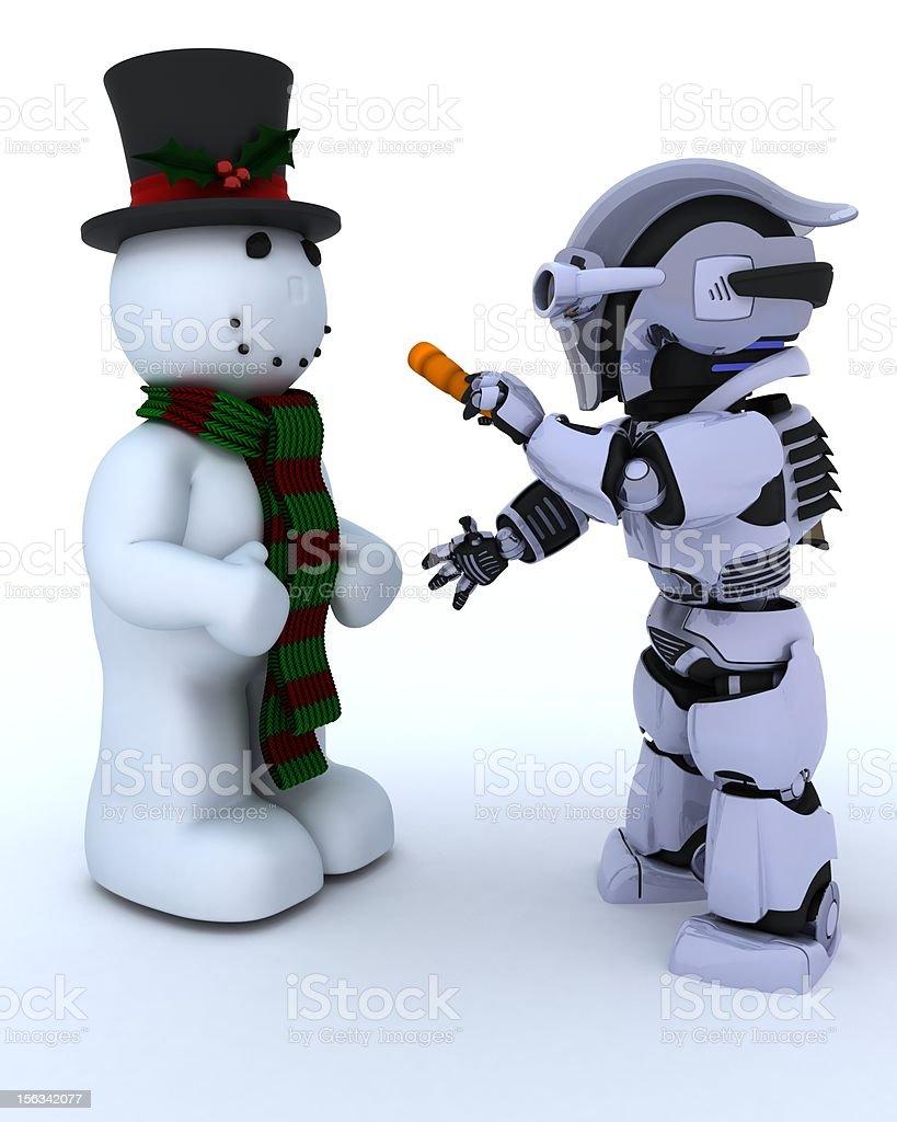 Robot building a snowman royalty-free stock photo