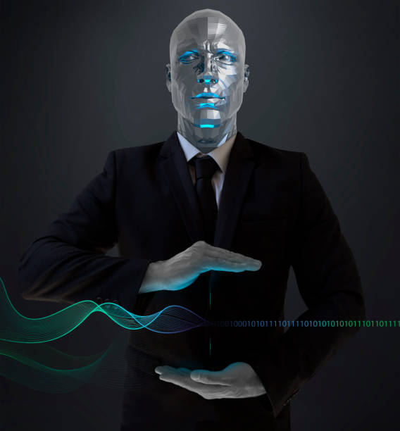 Roboter Geschäftsmann zeigt Wifi-Wellen – Foto