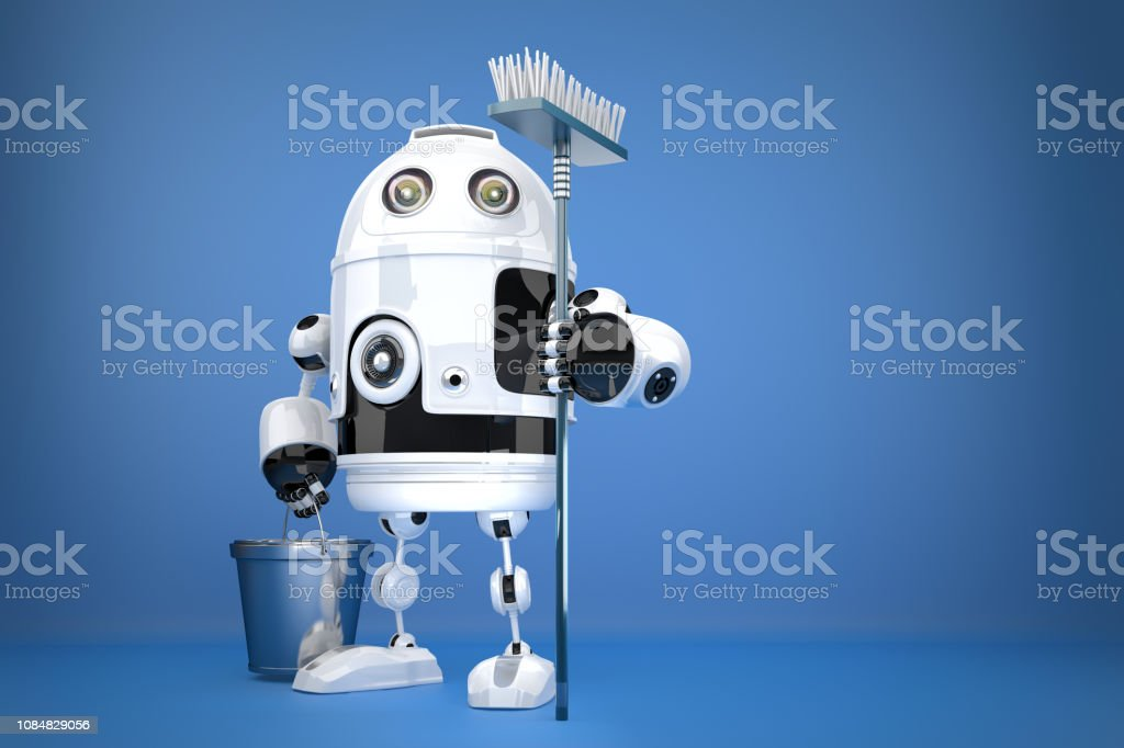 Robot Cleaner. Technology concept. Contains clipping path stock photo