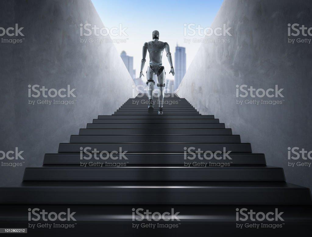 escaleras de subida de robot - Foto de stock de Alcanzar libre de derechos