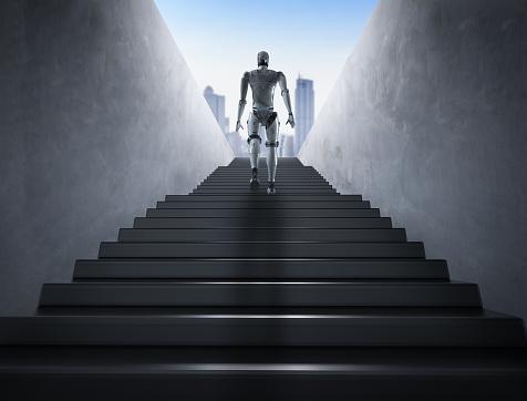 Escaleras De Subida De Robot Foto de stock y más banco de imágenes de Alcanzar