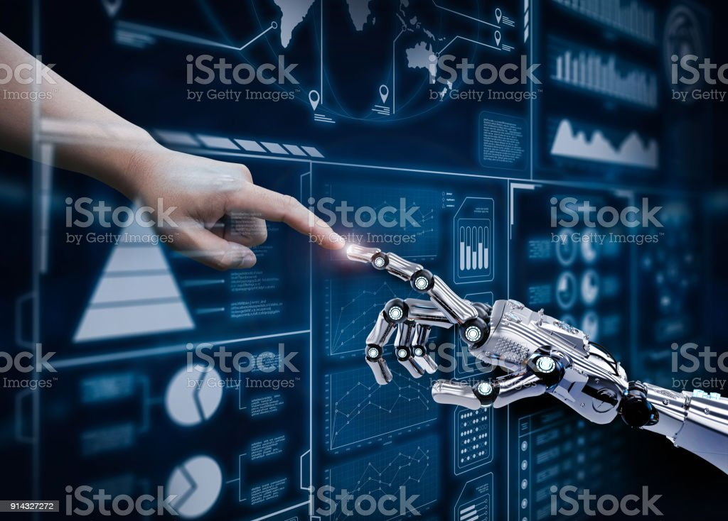 robot connect human stock photo