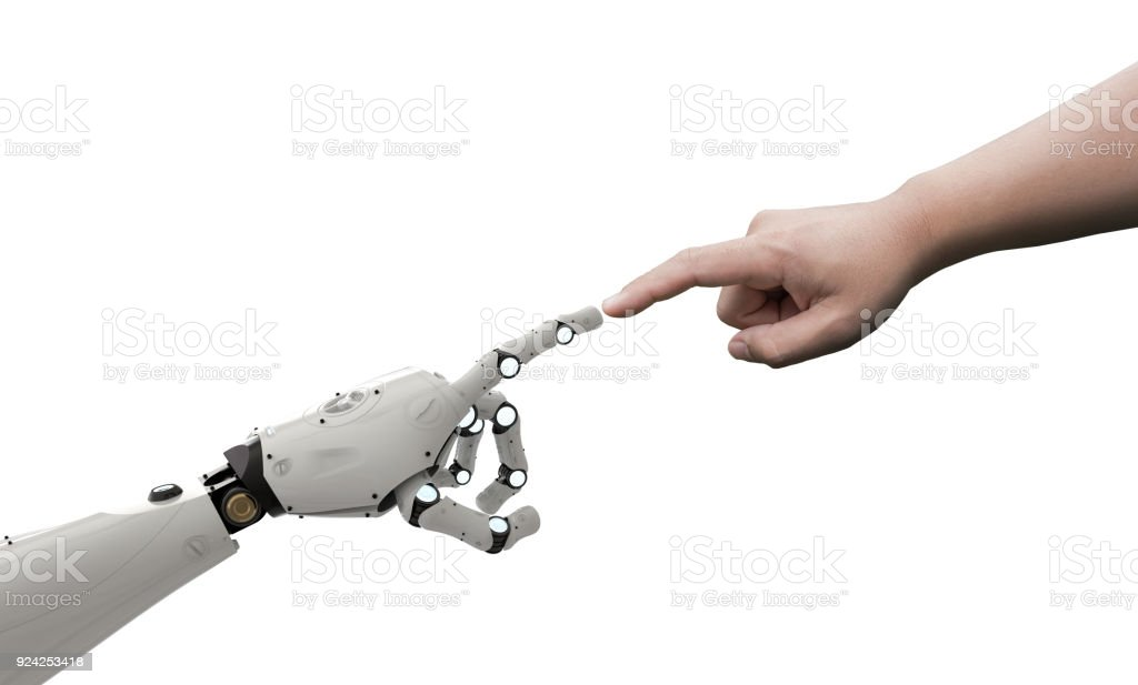 robot connect to human stock photo