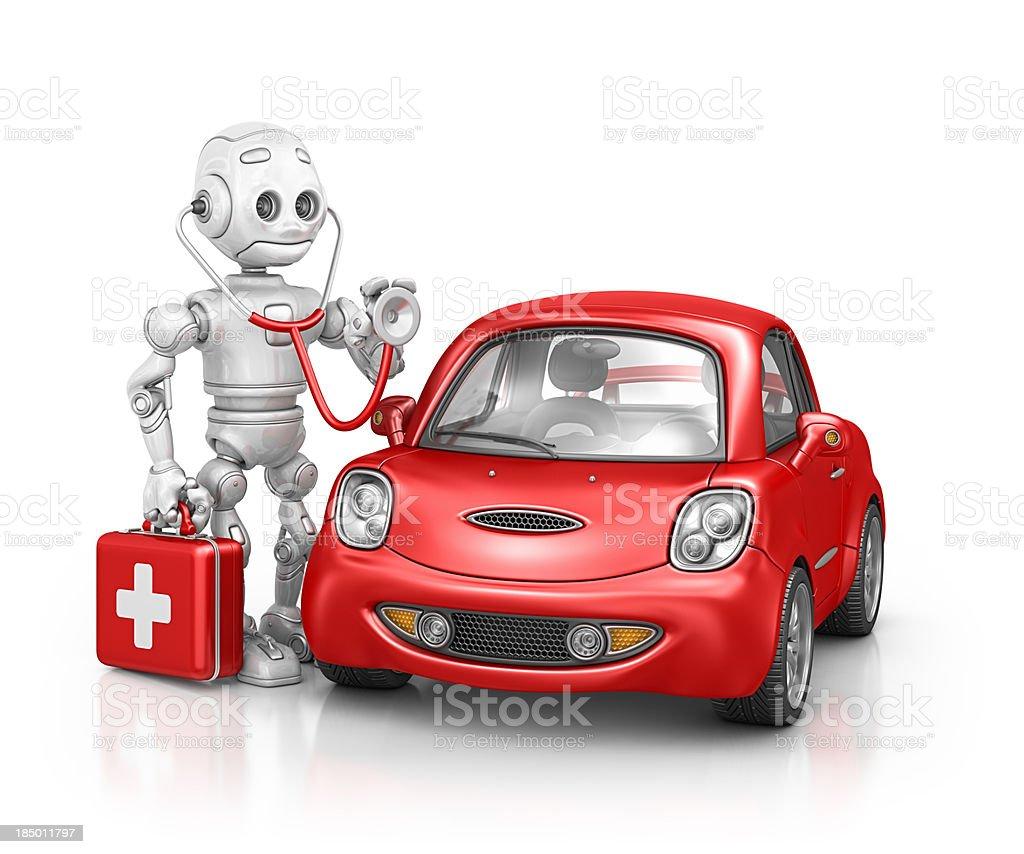 robot doctor examine car royalty-free stock photo