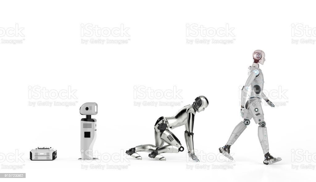 robot evolution or technology evolution stock photo