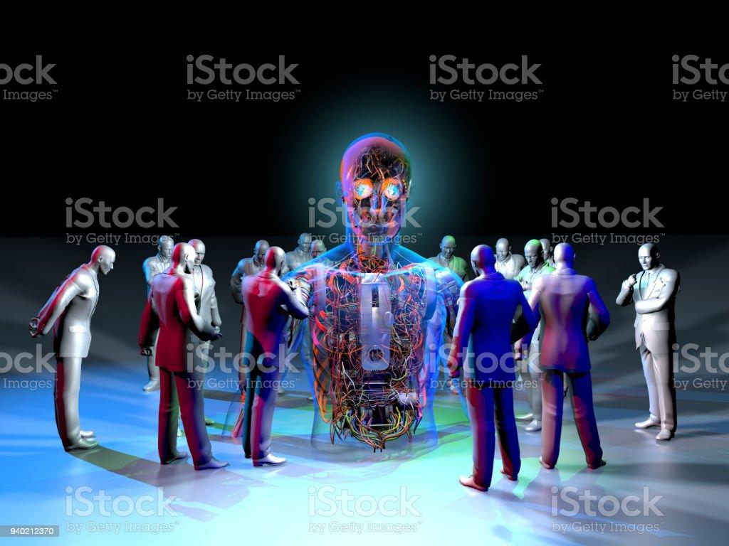 Roboter-Ausstellung in neugierige Menschenmenge – Foto