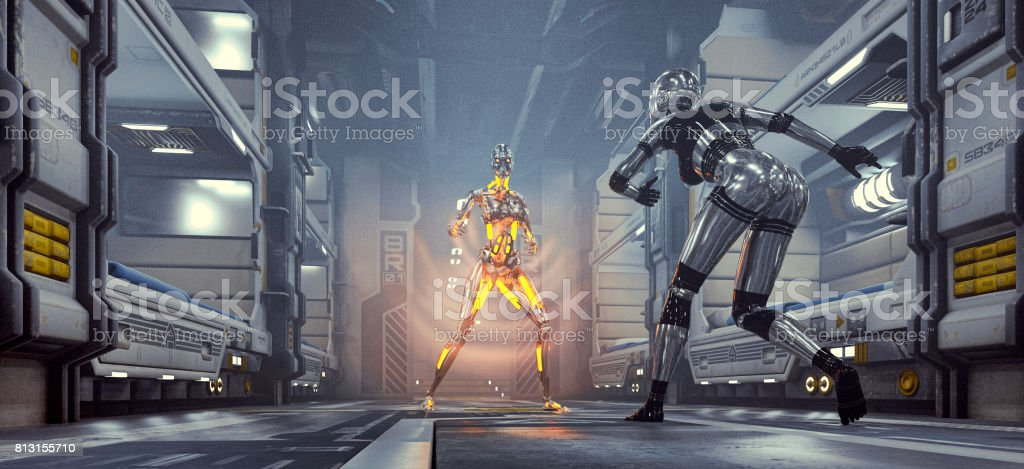 Robot fight in space ship barracks stock photo