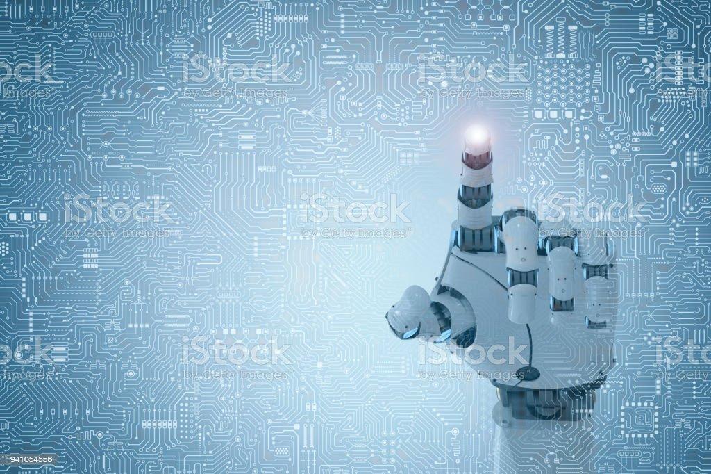 robot finger point stock photo