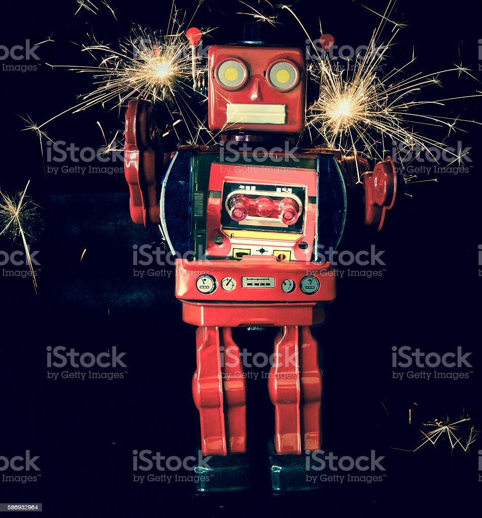 robot fireforkes stock photo