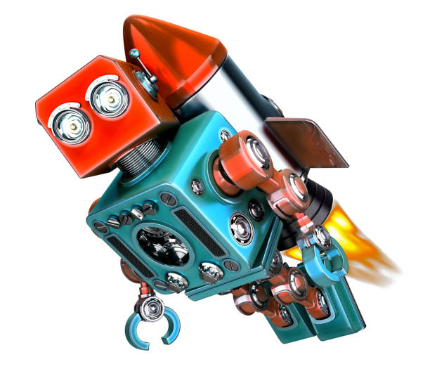 Robot fly on rocket. Start up concept. 3d illustration. Isolated. Contains clipping path stock photo
