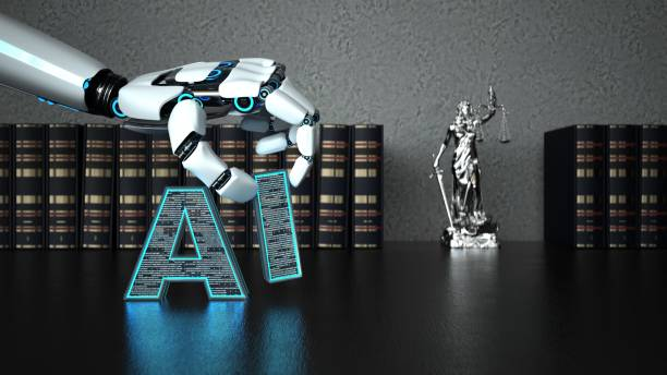 Robot Hand AI Lady Justice Statue A robot hand with the letter AI and a lady justice statue on the wooden table with law books. 3d illustration. jurist stock pictures, royalty-free photos & images