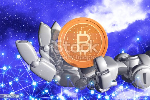 Robot hand and bitcoin with background network on star and galaxy background