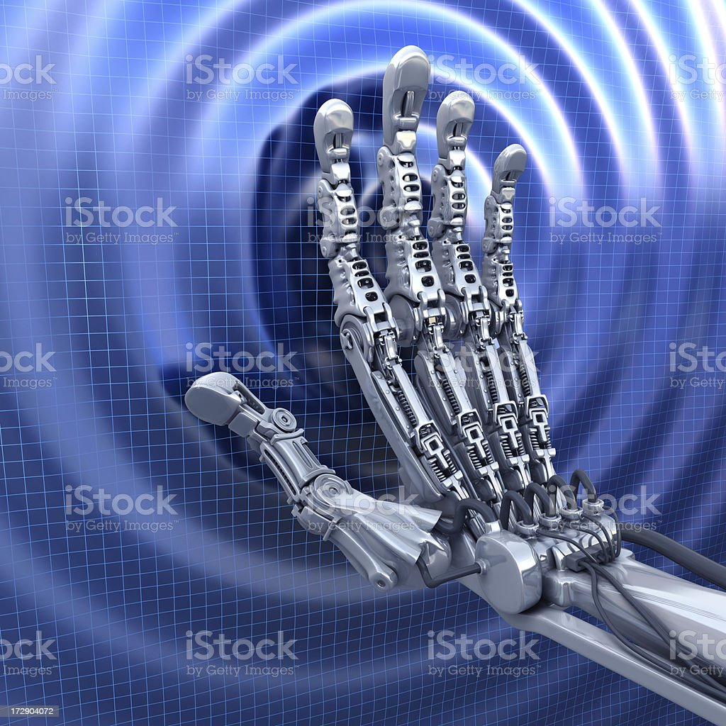 Robot hand and fantasy touchscreen royalty-free stock photo