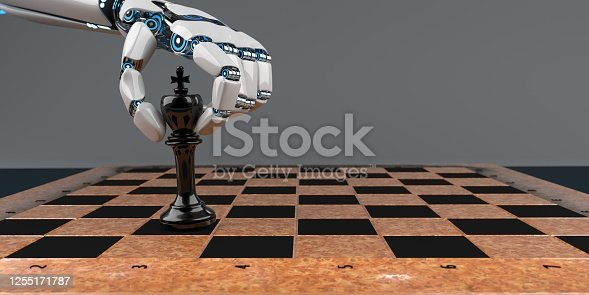 White humanoid robot hand with a chessboard on the table. 3d illustration.