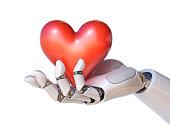 istock Robot hand holding a heart 3d rendering 866933386