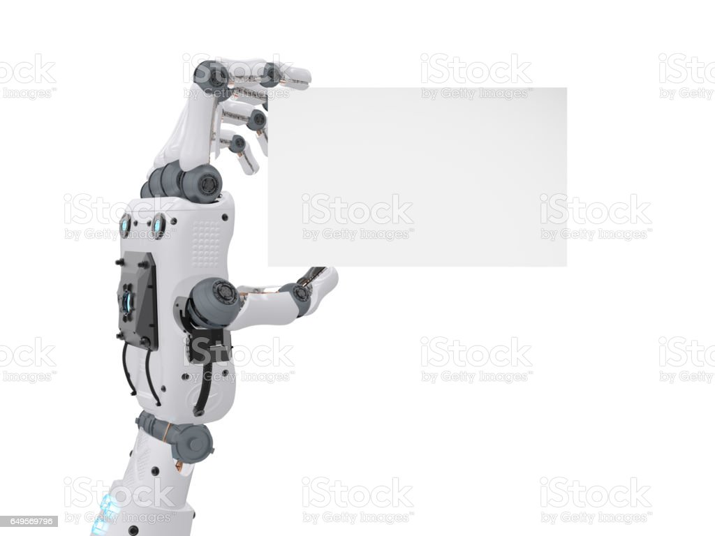 Robot Hand Holding Blank Business Card Stock Photo & More Pictures ...