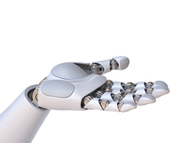 Robot hand holding gesture 3d rendering stock photo