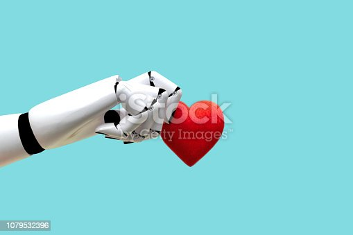 istock Robot hand holding heart Medical Technology Future Power 1079532396