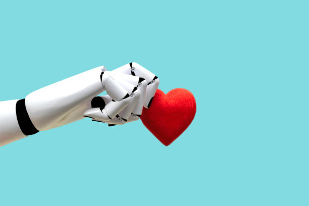 Robot hand holding heart Medical Technology Future Power stock photo