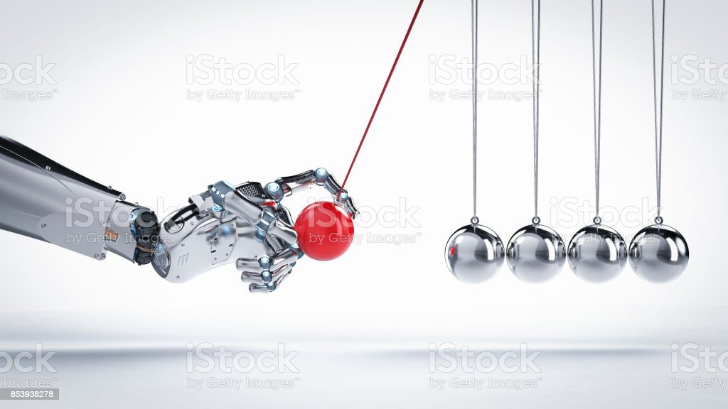 robot hand holding newton cradle stock photo