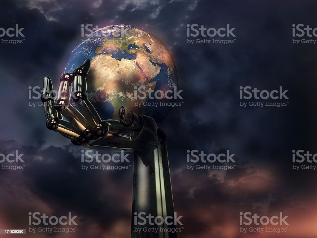 Robot hand holding up polluted Earth stock photo