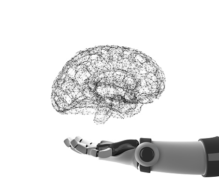 Robot hand holding virtual brain isolated on white. Artificial intelligence in futuristic technology concept, 3d illustration