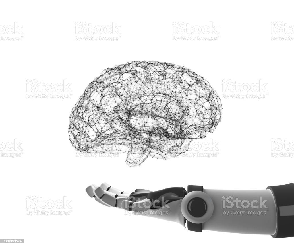 Robot hand holding virtual brain isolated on white. Artificial intelligence in futuristic technology concept, 3d illustration stock photo
